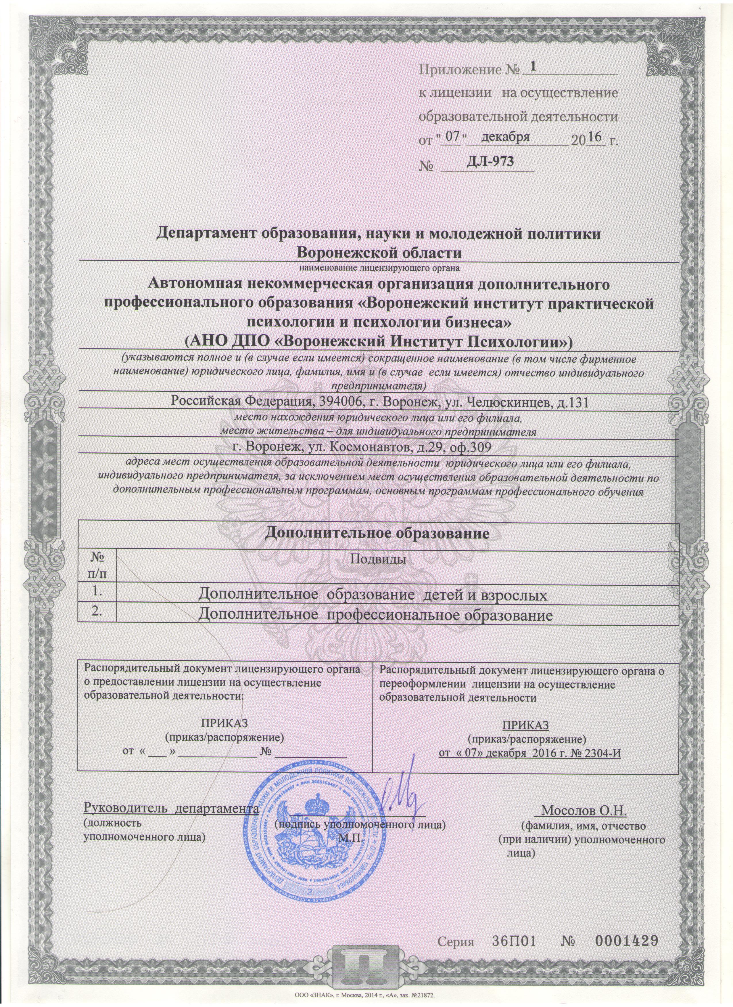 Лицензия. Воронежский Институт Психологии
